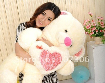 Free Shipping/Super Lovely big bear with heart96cm/ plush toys/valentine bear /stuffed  bearValentine's day gift/promotion gifts