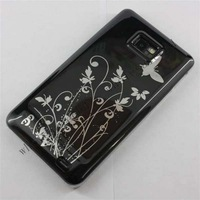 1000pcs/lot  Best Glossy Butterfly Flowers Hard Plastic Case Protector for Samsung Galaxy S2 i9100