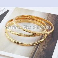 Wholesale 3PCS 18K Yellow Gold Filled Women's Carved Bracelet Bangle 60mm GF Jewelry 4MM Wide Free Shipping