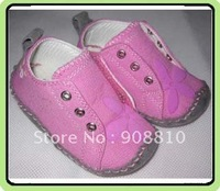 canvas fuchsia baby soft sole shoes with handsewing floral print velcro and elastic band closure