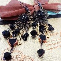 MIX(Min.$18) wholesale + fashion retro  black flower lady's alloy earring FE-005