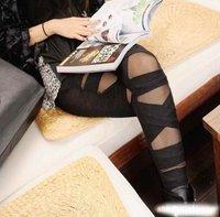 new 2014 sexy pants ripped slim fit cross banded leggings women stylish Women seamless legging