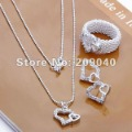Free Shipping/Fashion Jewelry Sets. 925  Silver Sets.Zircon Gemini love.Wholesale 925 Silver / Fashion Valentine gift