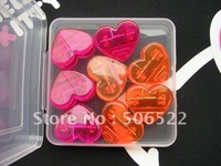 Free shipping  wholesale 160pcs/lot Memo Heart Shaped Plastic Mix red and orange FOOD CLIPS