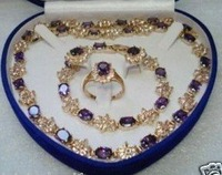 18K GP Amethyst Earring Bracelet Necklace Ring Set