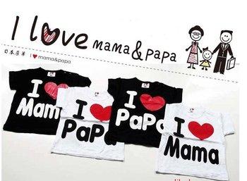 Hot~ I love papa I love mama t-shirts babys T-shirts boys girls t-shirt  2 color mix