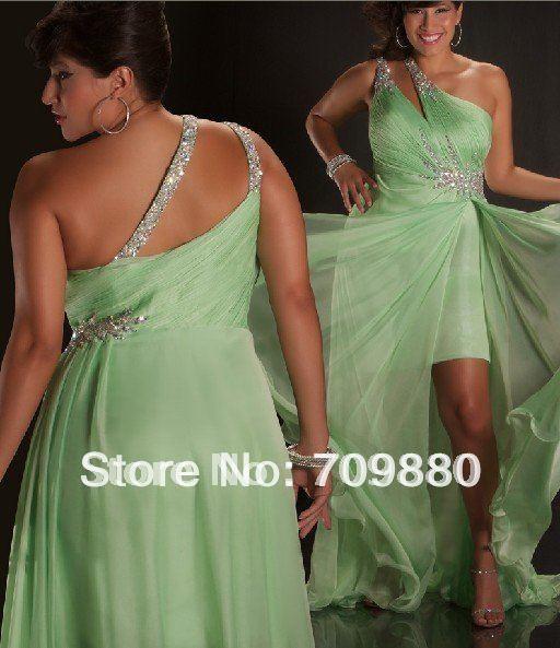 2012 Sparkle Crystal Oneshoulder Chiffon Hilo Prom dres wedding dres