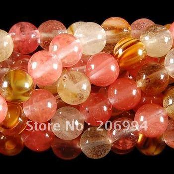 "Wholesale 8mm Watermelon Tourmaline Gems Round loose Beads 15"" 2pc/lot free shipping"