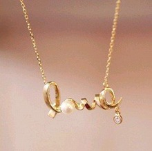 Min.order is $15 (mix order) Promotion fashion chic LOVE word necklace fashion necklace jewelry X4234(China (Mainland))