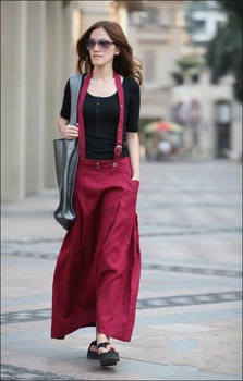 s0030  Free shipping high quality women's fashion long linen skirt ,support drop shipping