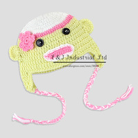 Crochet Sock Monkey Baby Hat in Spring Colors Crochet Baby Photo Prop Custom made fit for 3-24 Month
