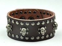 Cool Rock Men Genuine Leather Soft Bracelets Skull Rock Punk Bracelet Fashion
