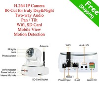 Free shipping IP Cameras, H.264+IR-Cut +Two-way audio+SD Card+ Pan/Tilt+Wifi+Motin detection+mobile view+free CMS