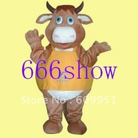 Adult sizes Lovely Brown Milk Cow Mascot Costume Cartoon  Fancy sexy Halloween Dress kids party mascot costume  Free shipping
