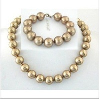 Fine 12mm southsea Champagne SHELL PEARL NECKLACE BRACE
