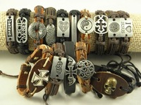 Wholesale Men's Stainless Steel Leather&Hemp Wistband Bracelets Great Price+Stock+Free Shipping Mix Order 36pcs/lot