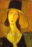 High quality! 100% Handpainted art canvas oil painting reproduction:  Portrait of Woman in Hat , 1917 , Amedeo Modigliani