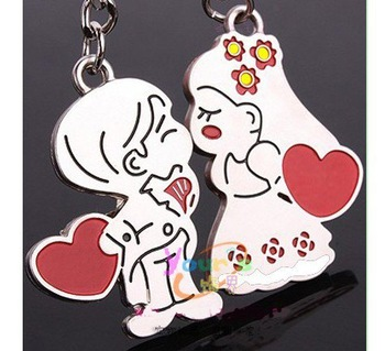Wholesale free shipping 50pairs/lot Polished lovely fashion couple key Ring,Car keychain best for wedding gift  601