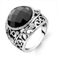 Elegant black onyx ring Black Snow retro Korean men's fashion jewelry rings