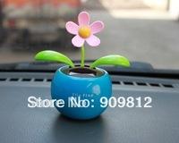 Free Shipping Solar apple flower, Flip flap solar flower, Swing sunflowers, Solar Toy, Car accessories, 5 color 65g  100pcs/lot