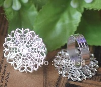 Free Ship!!! pad:25mm/adjustable silver  tone plated filigree ring base /lead free nickel free