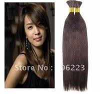 "New Arrival natural hair bulk extension 20"" 24"" 32"" #4 dark brown Hair Bulk virgin extensions for BRAIDING 1kg/lot"