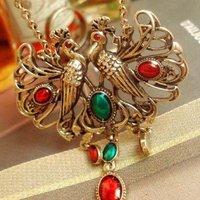 108# Vintage Sty Lucky Bird-Phoenix Necklace + Rhinestone