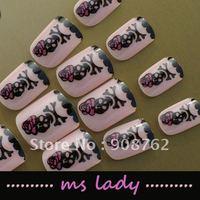 Special Offer nail fashion 24pcs/set false nails for girl fashion nail tips 2012 free shipping HK airmail