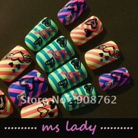 free shipping 24pcs/set false nails for girl fashion nail tips 2012 HK airmail