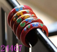 Ethnic Miao Jewellery Red Mango Wooden Bangle Bracelets Hand Painted Gifts 6x2.5cm Mixed Color Free Shipping