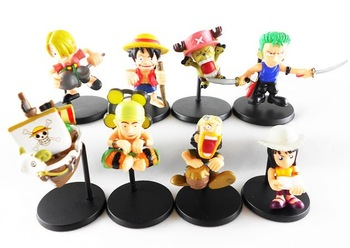 Lot 8 Pieces PVC One Piece Anime figure toys set,kids collection gift.Free shipping
