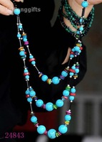 High Grade Tibet Necklace Blue Turquoise +Shell Strand Necklace Fashion Jewelry Sweater Pendant 41cm 10pcs Mixed Free Shipping