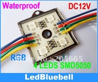 Free Shipping Waterproof SMD RGB LED Module 4pcs 5050 SMD LED DC12V + 44key Controller  [ LedBluebell ]