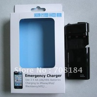 1pcs Black 3 X AA LR6 / HR6 Battery USB Portable Emergency Charger for iphone 3G 3GS 4G 4S ipod with led light package