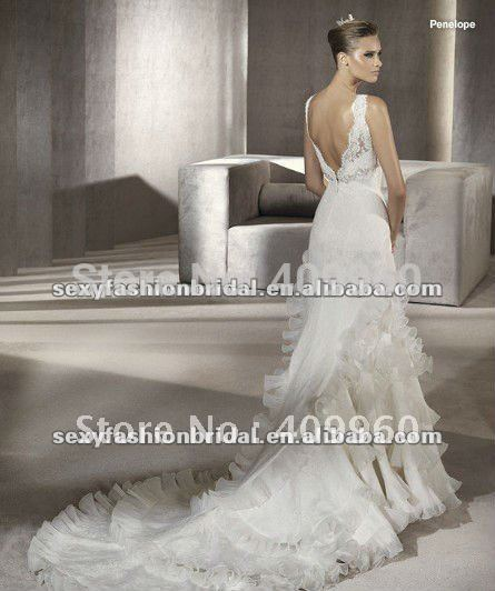 2012 V neck lace covered skirt ruffle hem designer fishtail backless wedding