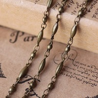 Free shipping wholesale Beads 2.8mm Ellipse 2.8*6mm antique bronze necklace chain, brass jewelry chain, fashion long link chain