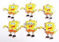 Gift ! Hot ! New 100pcs Cartoon DIY Pcs SpongeBob SquarePants Charms Jewelry Making Pendants