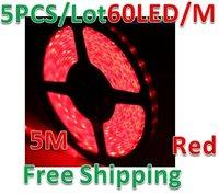 5pcs/lot 5M Red SMD 5050 LEDs Strip Light Waterproof