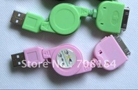 Colorful USB 2.0 Retractable Cable For ipad  ipod touch 2 3 4 USB Data Retractable Cable for iPhone 3g 3gs 4g 4s 20pcs/lot