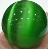 beautiful Green Cat Eye Gem Sphere Carving Ball 60mm + stand