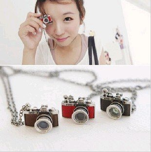 Min.order is $15 (mix order) Promotion fashion vintage style camera long necklace sweater chain 2 colors X4227