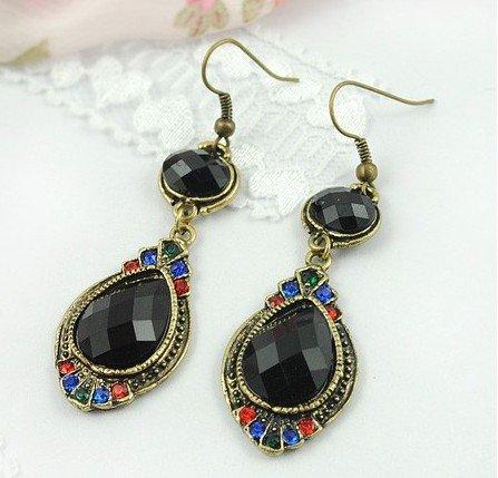 Wholesale 20Pairs/Lot Vintage Black Diamond Dangle Women Earrings, Created Gemstone Folk Earring ...