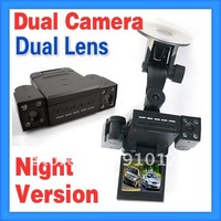 Dual Camera,Dual Lens Vehicle Car Camera DVR Dashboard Night Version Express 3pcs/lot