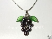 Freedom deliver******Black Pearl Grape Shape Pendant Necklace