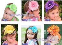 Free shipping 50 pcs Crochet headbands+ 50pcs Gerbera Daisy Flowers / baby hairwbows headband cfvcvb