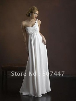 2012 new  eveing dress Elegant One-shoulder A-line Custom made Bridal Gown