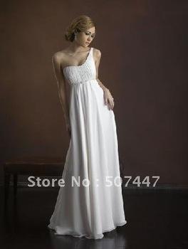 2012 new  eveing dress Elegant One-shoulder A-line Custom made Bridal Gown