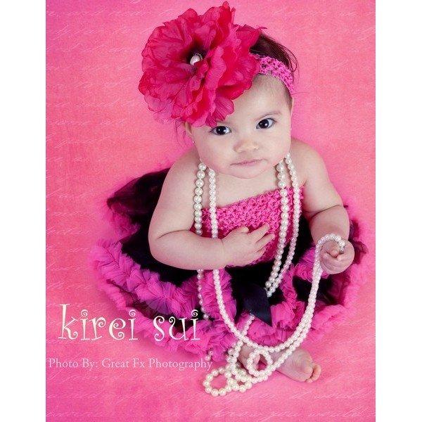 Baby Photo (2 Pieces)- Newborn Black Hot Pink Tutu Skirt Pettiskirt & Crochet Tube Top(Hong Kong)
