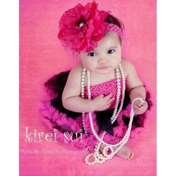 Baby Photo (2 Pieces)- Newborn Black Hot Pink Tutu Skirt Pettiskirt & Crochet Tube Top