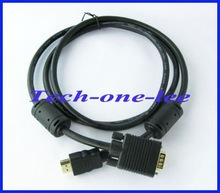 HDMI GOLD MALE TO VGA HD 15 MALE Cable 5FT 1 5M 1080P free shipping